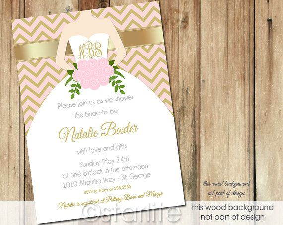 Monogram bridal shower invitation - Chevron Pink Gold - 5x7 Monogram - Bridal Shower invitation - Wedding Gown - PRINTABLE Invitation Design on Etsy, $20.00