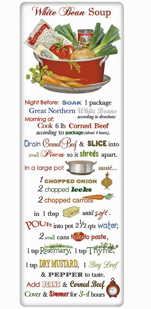 White Bean Soup Recipe 100% Cotton Flour Sack Dish Towel Tea Towel