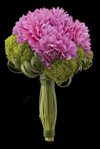 Designed by Ovando. Contemporary bridal bouquet of dahlias, trick dianthus and lily grass.