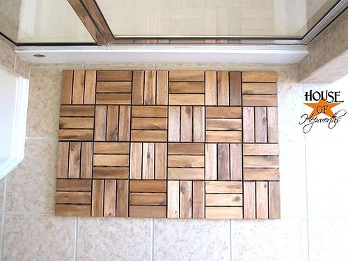 DIY wooden spa bathmat from Ikea decking tile. This is exactly what I've been envisioning, and I can control the size for our tiny, narrow bathroom!! To Ikea, QUICK! Thanks House of Hepworths. #bathmat