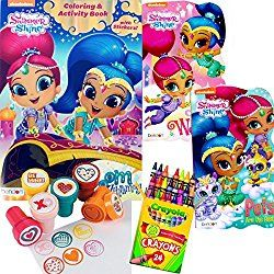 Shimmer and Shine Valentine's Day Coloring Book and Board Books Set - Includes 1 Coloring Book for kids with over 30 Stickers, 2 Board Books , 24 Crayola Crayons and 6 Stampers