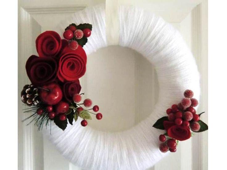 Christmas Wreath, Holiday Wreath, Yarn  Felt Wreath, Winter Door Decor, White Wedding - Red Roses and Berries 12 in. $85.00, via Etsy.