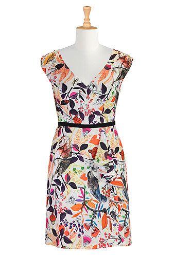 I <3 this Birds in florals sheath dress from eShakti
