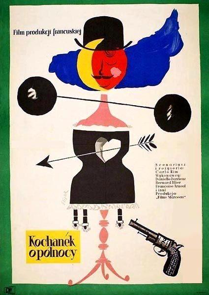 Vintage movie poster 1957 by jerzy flisak kochanek o polnocy