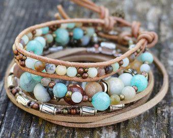 Set de 3 Boho Rustique dautomne Wrap pile Bracelets par ByLEXY