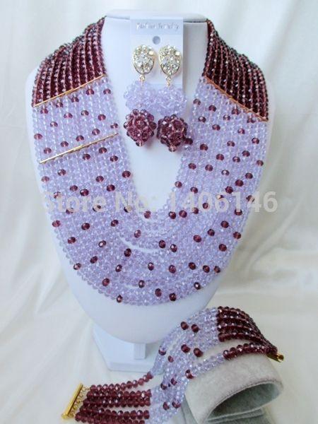 2014 срок годности сапфир ювелирные изделия мода светло-фиолетовый, Сирень, Лаванда кристалл нигерии свадьба африканские бусины комплект ювелирных изделий Ab1695