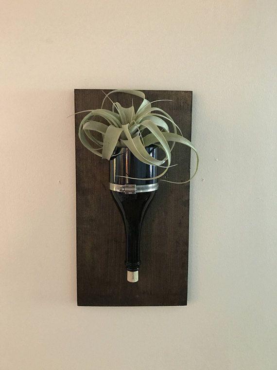 Plantador de la botella de vino de pared  Florero de botella