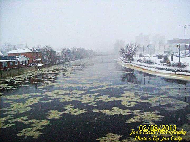 Snowsquall activity on the Moira River Belleville Ontario