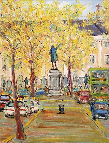 Marie Carroll ''Dame Street, Trinity College'' #art #trinity #college #painting #DukeStreetGallery