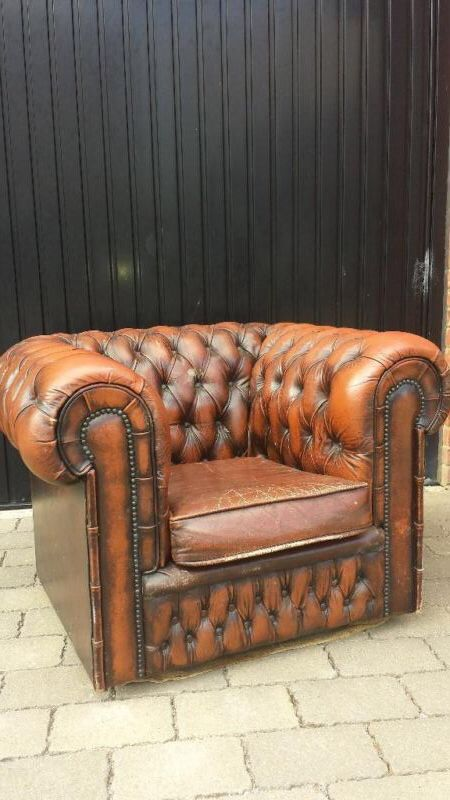 Chesterfield Club Chair in tan. Vintage retro chair in great condition £240