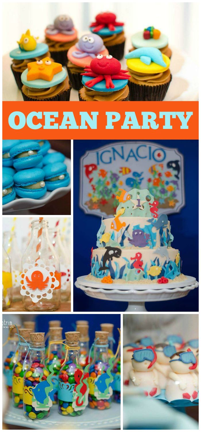 """An under the sea ocean boy birthday party with macaron """"oysters"""" and a fun cake!  See more party planning ideas at CatchMyParty.com!"""