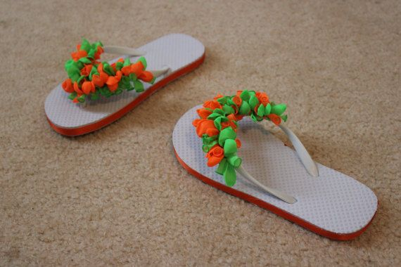 White Girls' Flip flops decorated with by SimplyUnforgetable4U