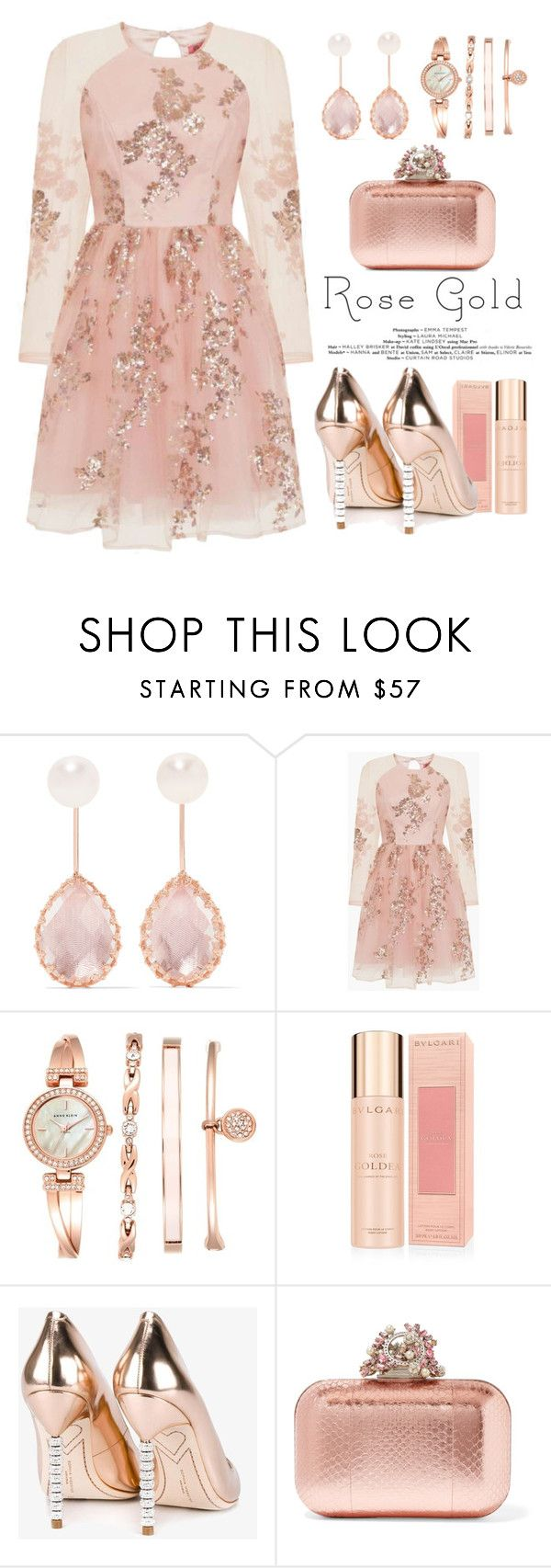 """""""Rose Gold"""" by conch-lady ❤ liked on Polyvore featuring Larkspur & Hawk, Chi Chi, Anne Klein, Bulgari, Sophia Webster, Jimmy Choo and rosegold"""