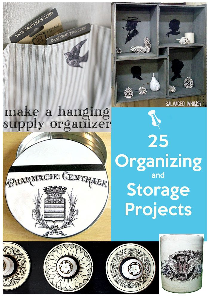 25 Organizing and Storage Projects, that you can make yourself. So many pretty DIY projects!!