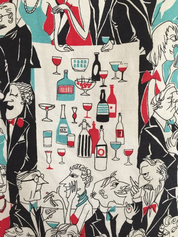 Vintage Towel Cocktail Party Mid Century Graphics