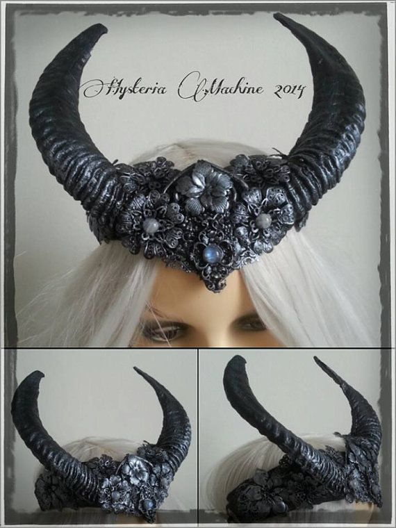 Elegant Black Horned headdress by HysteriaMachine on Etsy, £140.00