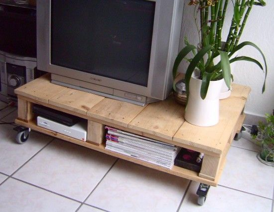 cut pallets & stack for tv table in garage....wheels are a nice touch.