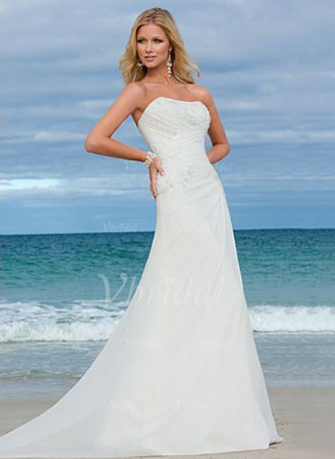 Wedding Dresses - $160.62 - A-Line/Princess Strapless Sweep Train Chiffon Wedding Dress With Ruffle Appliques Lace (00205000953)