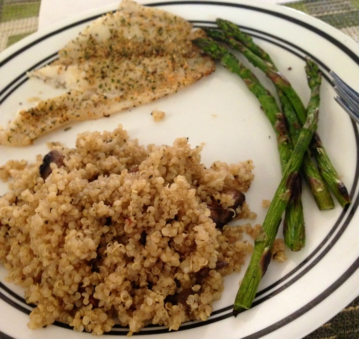 with mushroom quinoa and asparagus: Grilled Flounder, Mushroom Quinoa ...