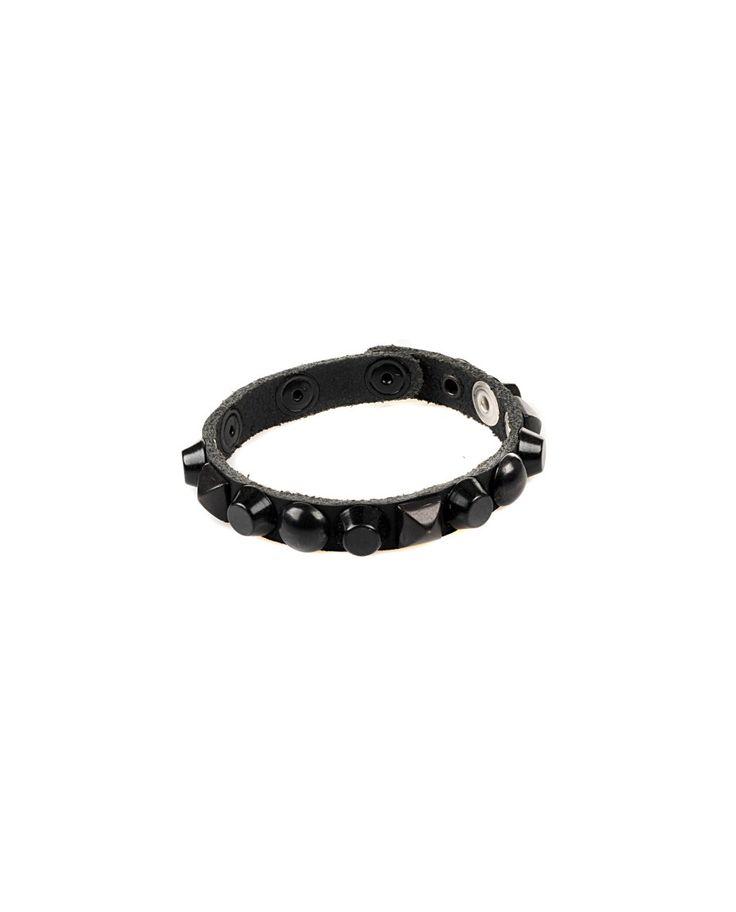 81 CARATI Black leather bracelet with studs clip closure