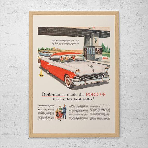 VINTAGE FORD AD - Rockabilly Car Poster, Ford V-8 Poster, Retro Car Poster, Retro Car Ad, Classic Car Ad, Retro Ad, 50's Ford Car Ad, Ribba