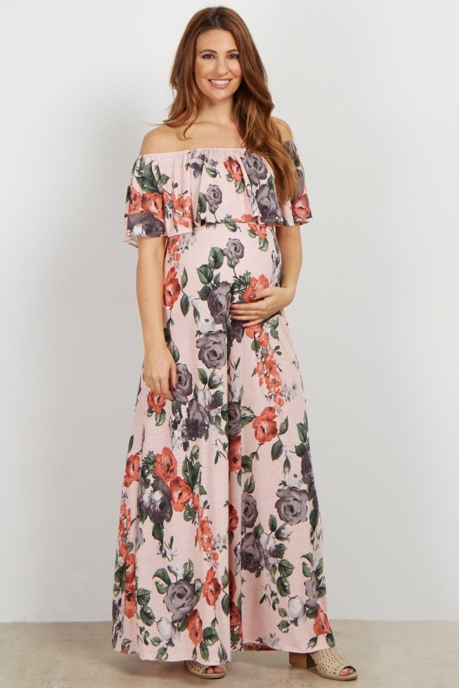 f1390459 Rose print off shoulder maternity maxi dress. Short sleeves. Cinched  neckline. Ruffle neckline. This style was created to be worn before,  during, ...