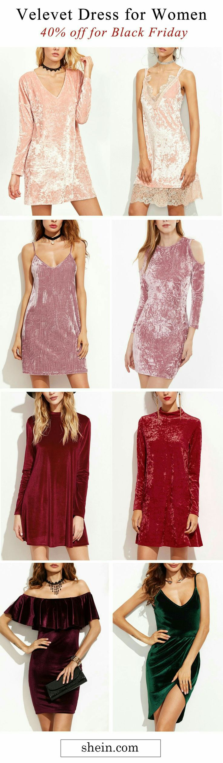 Velvet dresses for woman