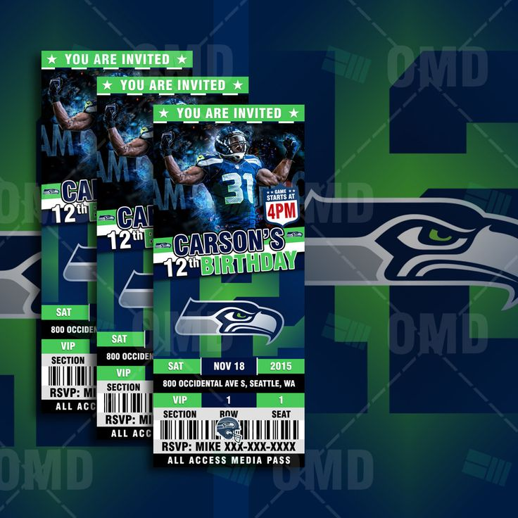 "Seattle Seahawks Sports Party Invitation 2.5x6""  Sports Tickets Invites, Football Birthday Theme Party Template by sportsinvites"