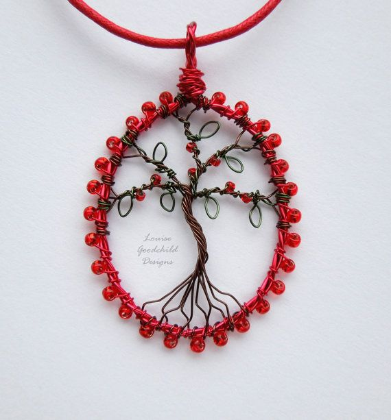 Ruby red tree pendant wire tree pendant tree of by LouiseGoodchild