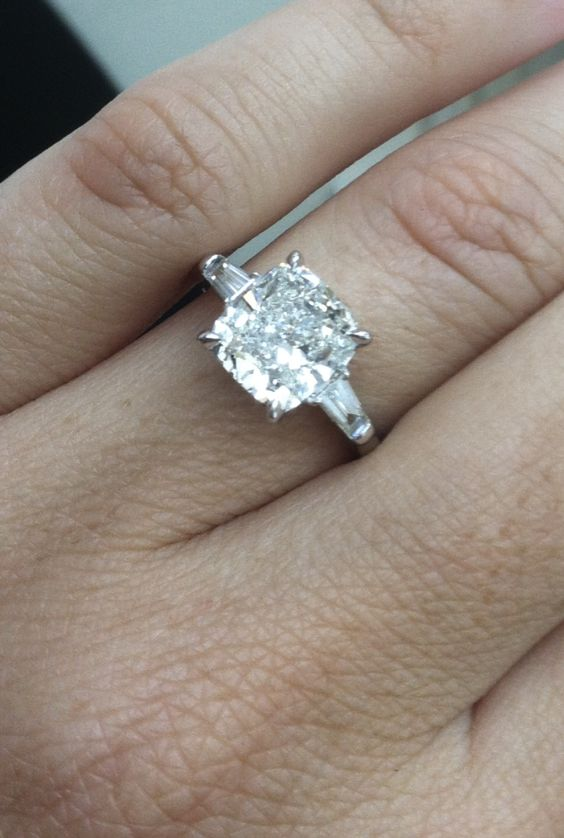 3 carat cushion cut with baguettes