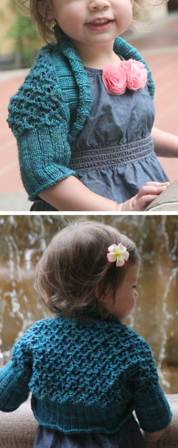 Free Knitting Pattern for Baby Lace Shrug - Lace shrug with 2 ribbing options. Sizes doll, 6 months, 12 months, 2 years, 4 years, 6 years, 8 years, 10 years. Designed by Gabrielle Danskknit, Pictured projectby ilovemath
