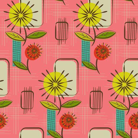 Mid Century Modern Dandelions ~ (Salmon) fabric by retrorudolphs on Spoonflower - custom fabric