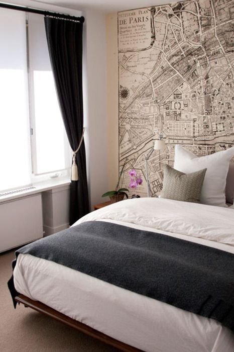 Old map wallpaper & gorgeous bedding.
