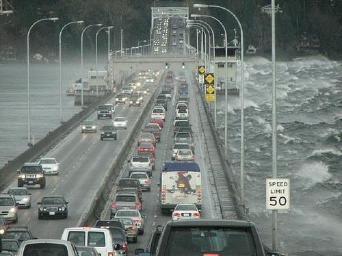 """""""Calm on one side, crazy on the other."""" floating bridge 520 in Seattle, Washington (on Lake Washington) - used to drive this almost daily - I loved it!"""