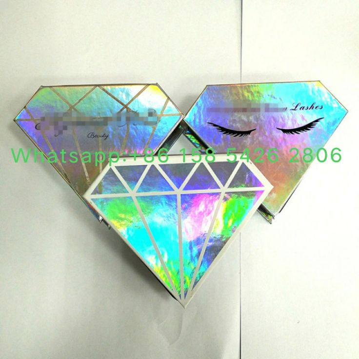 Hot New design holographic paper Private Label eyelash box packaging With hot stamped logo