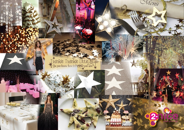 www.2-nice.nl, Thema Stars & Sterren, Glitter, Christmas Diner, Event Styling, Ontwerp & Design, Moodboard & Collage, Sfeer