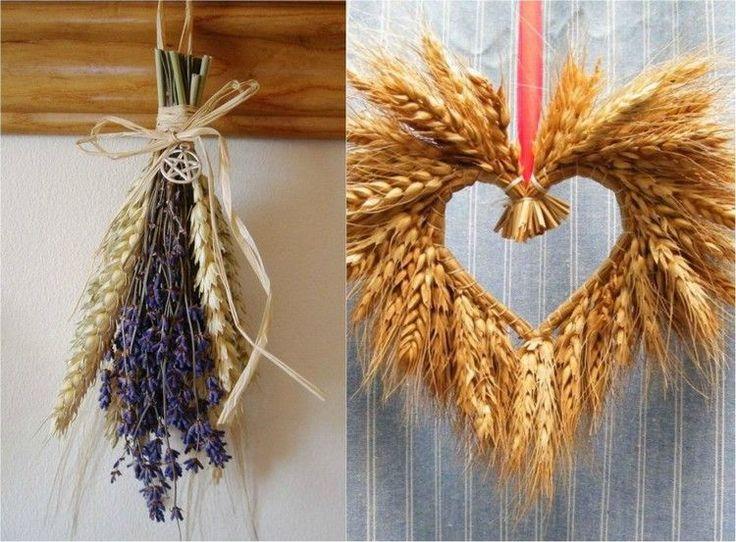 décoration automne en épis de blé et fleurs sèches