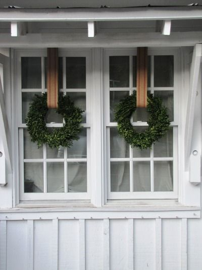 Boxwood Wreath hung with Jute Webbing