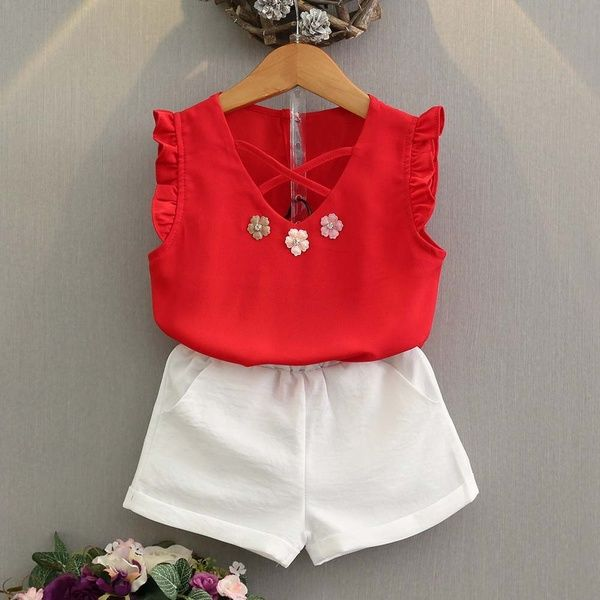 2PCS Toddler Kids Baby Girls Outfit Clothes Floral Vest T-shirt+Shorts Pants Set