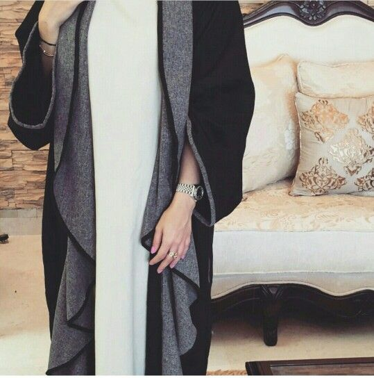 Pinterest: @eighthhorcruxx. Open black and grey abaya