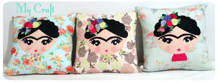 Almofadas Frida Khalo, em tecido e aplique de feltro. https://www.facebook.com/mycraftbyroberta