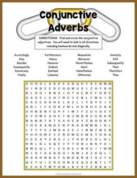 Conjunctive Adverbs Word Search Puzzle Worksheet.  A fun activity to learn and review grammar and spelling.