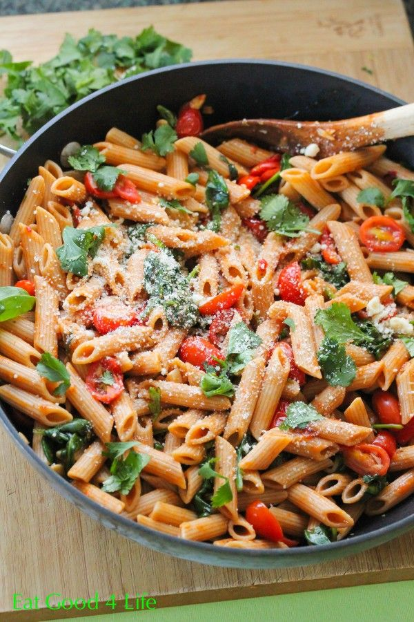 fired roasted tomato pasta. Done in just 20 minutes. A great recipe with excellent flavors. One of the best pasta recipes I have ever tasted. For a vegan version omit the Parmesan cheese. #pasta #cleaneating