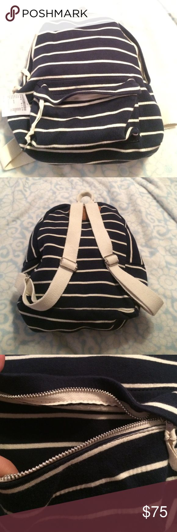 NWT Brandy Melville striped backpack John galt Brand new Brandy Melville / John galt backpack. It's striped and has adjustable straps. It's the full size backpack too not the mini one! Cloth backpack with canvas lining super cute!!!' I love it. It also has a zipper front pocket too Brandy Melville Bags Backpacks