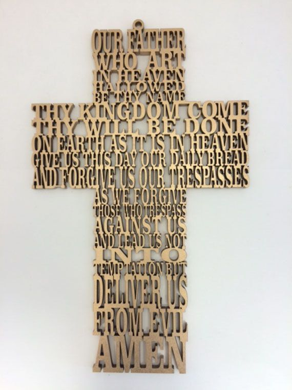 "Cruz Padre Nuestro en idioma ''Inglés"" en corte laser MDF / Cross Our Father in English in laser cut MDF de MIKOdesignsUS en Etsy"