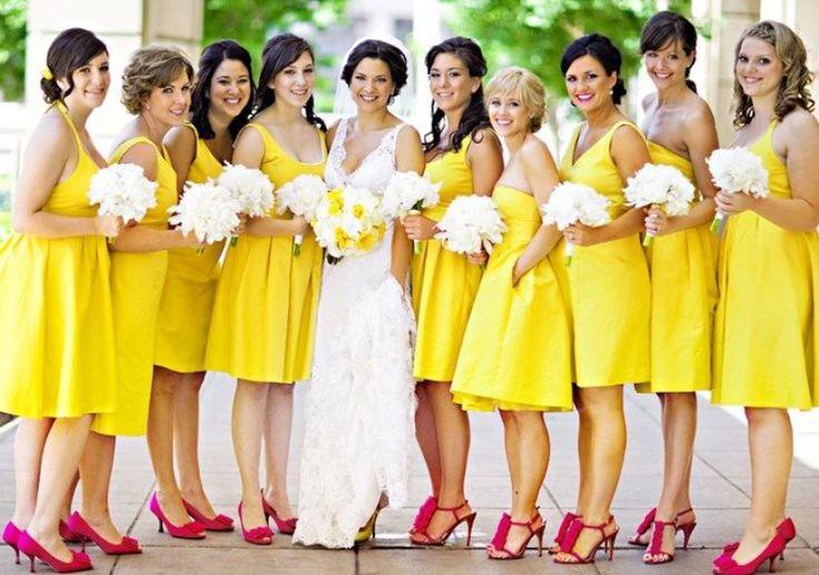 vestidos amarillos para damas de honor