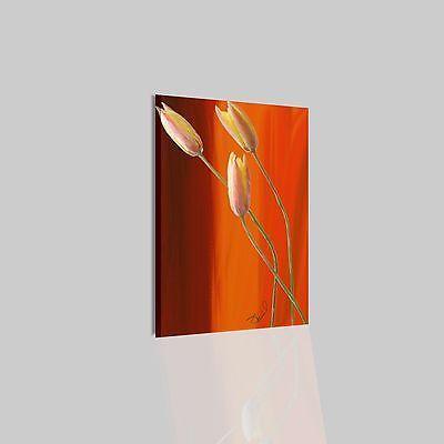 Quadri Moderni Astratti Dipinti A Mano Olio Su Tela Fiore Arancione