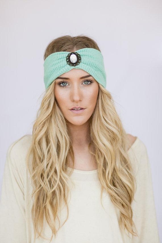 Mint Boho Knit Headband WanderLust Bohemian Free Spirited Accessories Women's Fashion Hair Accessories Hair Bands Photo Prop (MINT Jewel) on Etsy, $38.00
