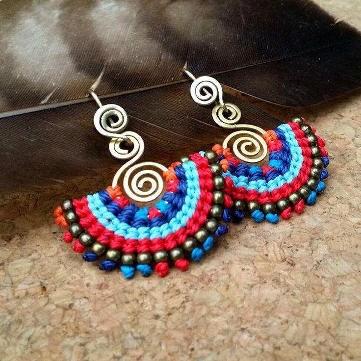 macrame earrings, macrame, boho style, macrame earrings