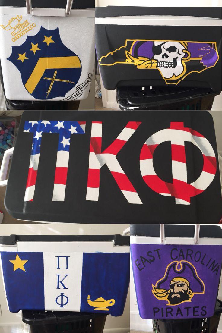 Pi kappa phi fraternity east Carolina painted cooler
